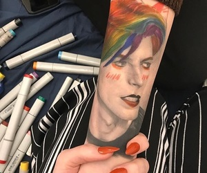david bowie, rainbow, and tattoo image