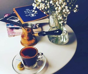 cafe, coffee, and flower image