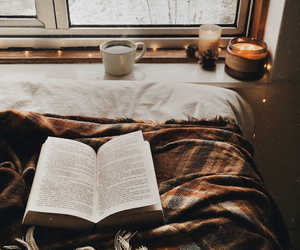 book, winter, and candle image