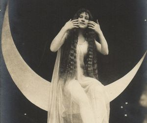 lady, moon, and vintage image