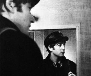 john lennon, the beatles, and black and white image