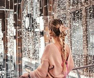 girl, holidays, and lights image