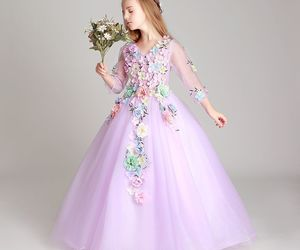 ball gown, little girl, and lilac dress image