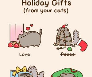 cat, pusheen, and christmas image