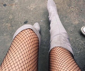 boots, fishnet, and chic image