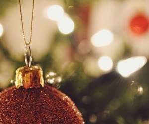 christmas tree, garland, and happy new year image