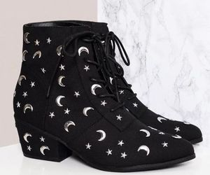 shoes, black, and moon image