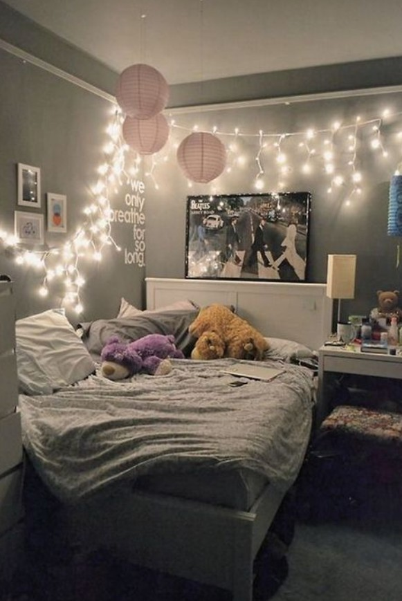 Pinterest Room Decor With Fairy Lights On We Heart It