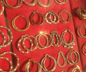 gold, red, and jewelry image