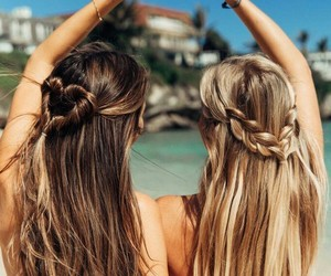 hair, beach, and best friends image