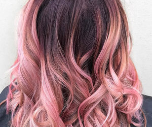 rose pink, ombre, and chocolate hair image
