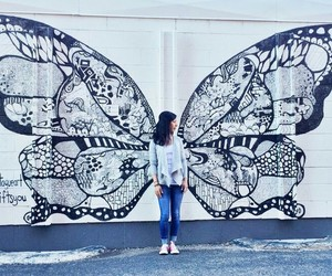 butterfly, tumblr, and wall image