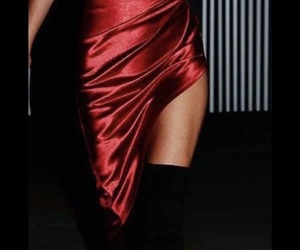 red dress, satin, and knee boots image
