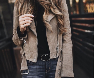 brown, fashion, and suede jacket image