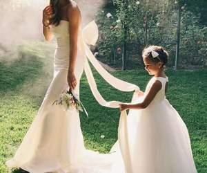 bride, wedding, and flowergirl image