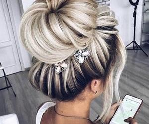 blonde, tan, and bun image
