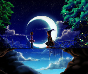 moon, night, and witch image