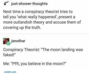 conspiracy, funny, and moon image