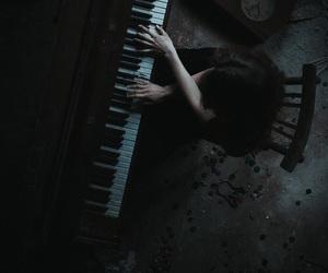 piano, dark, and music image
