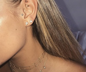 earrings, necklace, and Piercings image