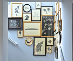 picture frames, staircase, and stairway image