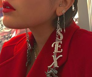 red, earrings, and style image