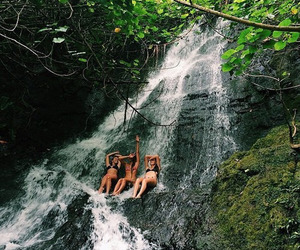 summer, friends, and waterfall image