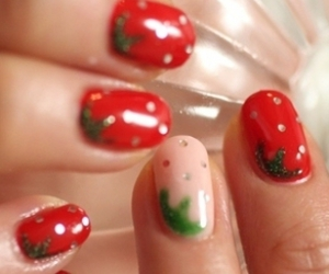 nails, strawberries, and summer image