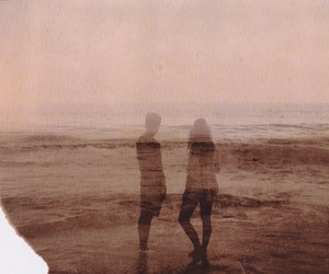 couple, beach, and sea image