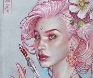 pink hair dagger and flower necklace magic image