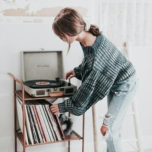 music, girl, and vinyl image