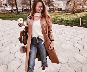accessories, coat, and jeans image