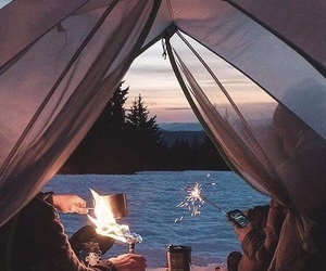 camp, campfire, and camping image