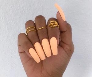 nails, orange, and rings image