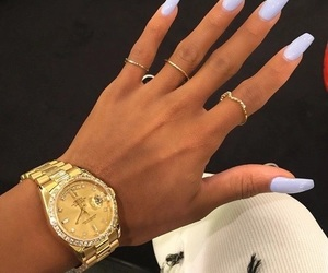 blue, gold, and gelnails image