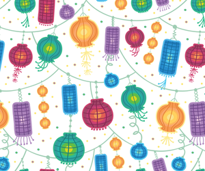 background, chinese, and lanterns image