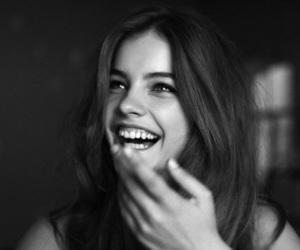 smile, barbara palvin, and black and white image