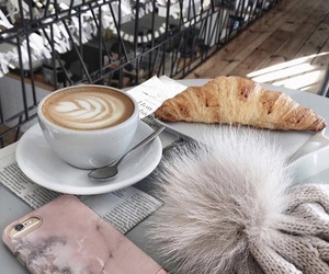 coffee, croissant, and drink image