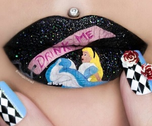 lips, alice, and alice in wonderland image