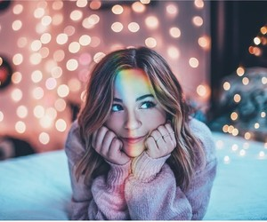 lights, rainbow, and girl image