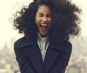 brown hair, curly hair, and happiness image