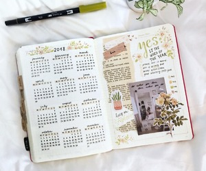 journal, bullet journal, and 2018 image