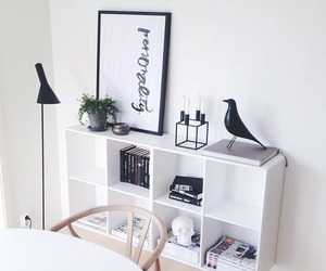 black, white, and apartment image