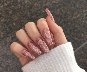 glitter, pink glitter, and nails image