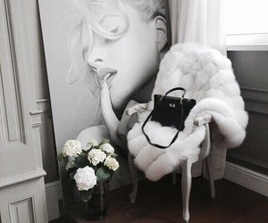 chair, flowers, and interieur image