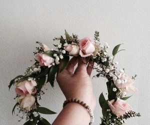 flower crown, flowers, and rose image