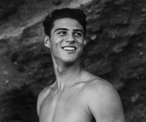 black&white, smile, and boy image