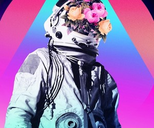 astronaut, flowers, and space image