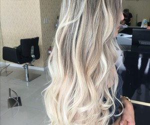 blonde hair, brown hair, and girl image