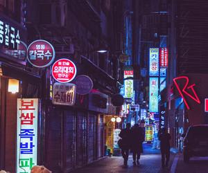 city, neon, and korea image